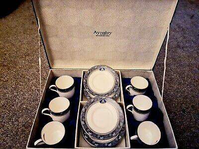 Aynsley Blue Mist Coffee Set - Cups And Saucers • 10£