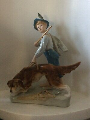 ANTIQUE ROYAL DUX LARGE BOY HOLDING STICK WITH HUNTING DOG FIGURINE - Stunning! • 110£