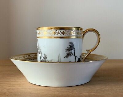 Stunning Paris Porcelain Coffee Can And Saucer Finely Painted En Grisaille C1810 • 21£