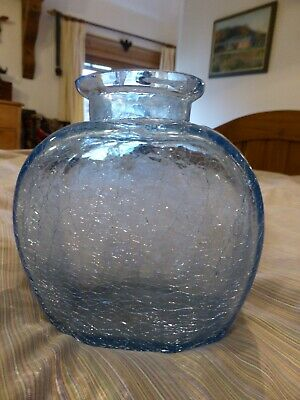Blue Crackle Glass Vase, Perfect Condition. 15cm High X 11cm Wide • 3.70£