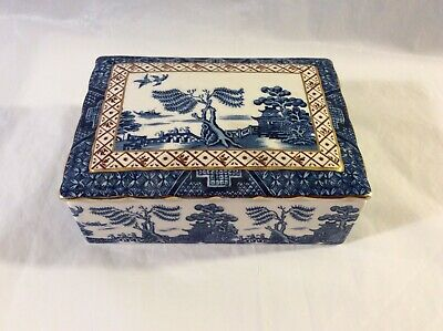 Rare Vintage Booths Real Old Willow Rectangular Butter/Trinket Dish-Excellent Co • 115£