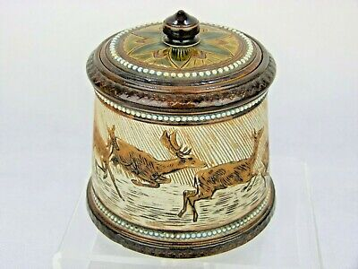 A Gorgeous Doulton Lambeth Highland Deer Decorated Lidded Pot By Hannah Barlow • 395£