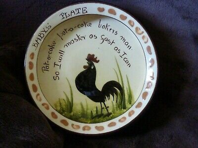 Longpark Torquay Black Cockerel Nursery Rhyme Baby Plate • 18.95£