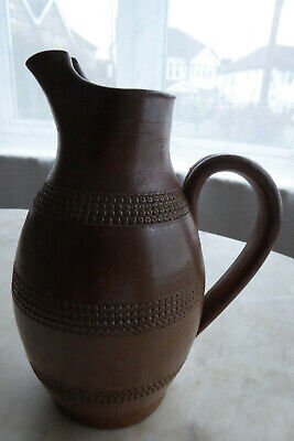 Lovely French Antique / Vintage Glazed Rustic Pitcher Jug - Brown Hand Decorated • 25£