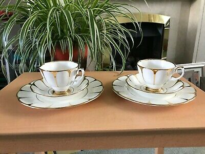 Vintage Royal Vale Trio Tea Set Gold DAISY WHITE Strike TWO Trios Set Cup Plate • 28£