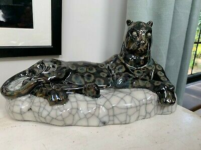 Chinese Studio Or Art Pottery Panther Apparently By Huang Haoxing • 60£