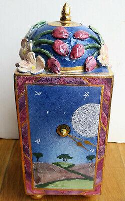 Michelle Ohlson Ceramic Pottery Mantel Clock Vintage Hand Fired /Painted -Scarce • 59.95£
