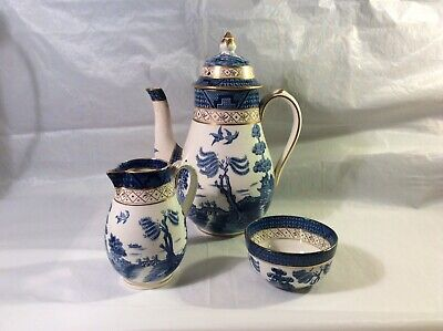 Large Booths Real Old Willow Bell Shaped Lidded Coffee Pot, Milk & Sugar-Nice • 125£