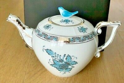 Herend Porcelain Fine China Hand Painted Teapot Chinese Bouquet With Bird • 200£