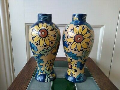 Rare Early Pair Of Charlotte Rhead Aster Pattern Ellgreave Pottery Vases  • 80£