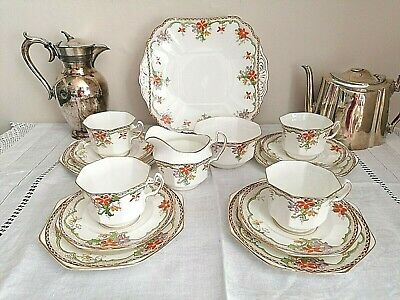 ANTIQUE ART DECO FENTON BONE CHINA 15 PIECE TEASET - PAT No 4620 MADE In ENGLAND • 39.99£