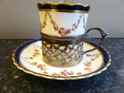 Antique Crescent China Cup And Saucer With Silver Holder Birmingham C.1908  • 30£