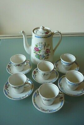 Lord Nelson Ware T'SING Pattern Coffee Set - Pot With 6 Coffee Cups And Saucers • 35£