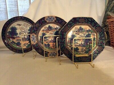 "BEAUTIFUL Set Of Three RARE ANTIQUE BOOTHS SILICON CHINA ""MING  PATTERN 9"" PLATE • 95£"