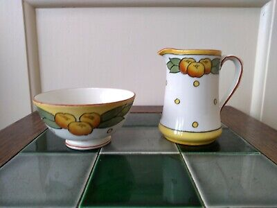 Art Deco Charlotte Rhead Jug And Bowl In The Garland Pattern For Burleigh Ware • 45£