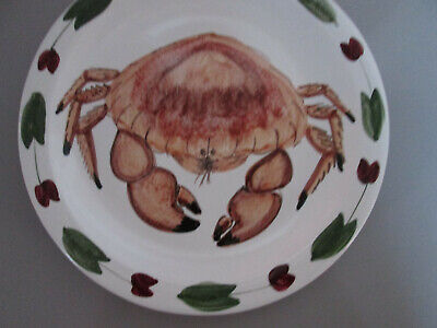 Iden Pottery Rye Sussex Hand Painted Plate Crab Steve Duffy 1991 • 26£