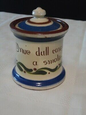 Longpark Pottery Liided Pot.. Cigarette Holder.  Dr'ive Dull Cares With A Smoke  • 12£