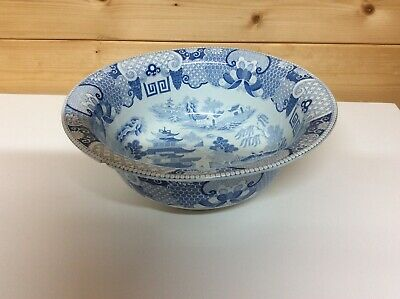 Beautiful Antique Blue & White Willow Pattern Wash Bowl Davenport? • 19.99£