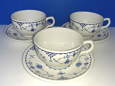 FURNIVALS MASON`s DENMARK Blue 3 X 9cms / 3½ Inches Cups And Saucers • 18£