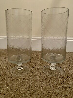 Pair Of Cut Glass Hurricane Candle Holders Vases • 20£