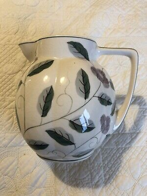 Laura Ashley Hand Painted Green And Purple Floral Jug • 15£