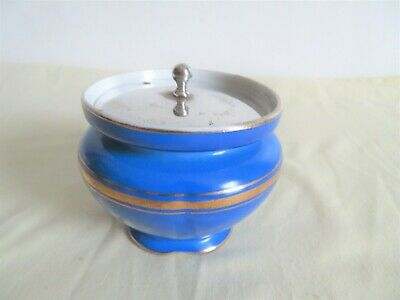 Vintage  Minton  Blue  Gilded    Pot With Silver Plated Lid  • 3.50£