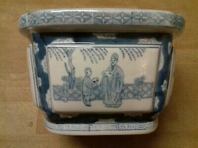 Beautiful Chinese Blue & White Qing Dynasty Qianlong Period Large Plant Pot • 49.99£