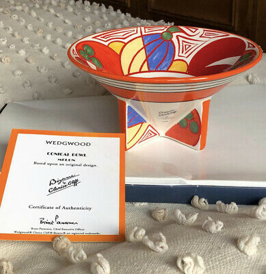Wedgwood Bizarre By Clarice Cliff Conical Melon Bowl With Certificate VVGC • 40£