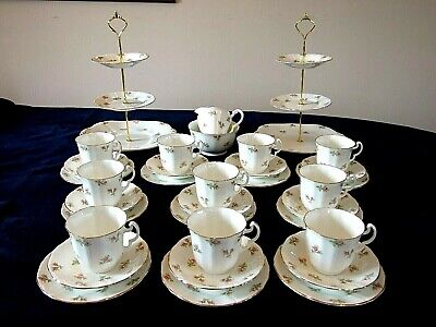 AN OUTSTANDING VINTAGE 10 PLACE TEA SET WITH 2 CAKE STANDS BY ADDERLEY Ltd.  • 59.99£