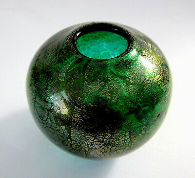 ISLE OF WIGHT STUDIO GLASS Irridescent Green / Gold Glitter POSY VASE   Seaweed  • 14.95£