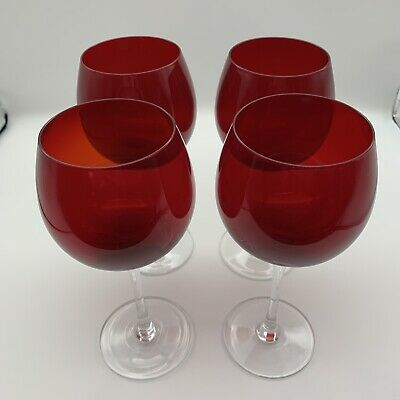 """Ruby Red Wine Glass Ballon Hand Blown Crystal 8 3/8"""" Tall Set Of 4 • 29.43£"""