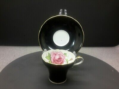 Aynsley England  Bone China (corset )tea Cup & Saucer  Black And Gold /floral  • 20£