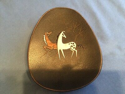 Vintage Ruscha West German Enamel Painted Horse Wall Plaque 1960s • 15£