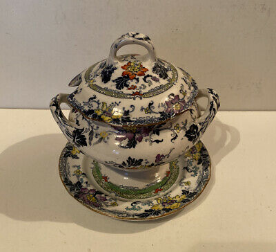 Antique Cauldon Fontainebleau Decorative Lidded Small Tureen On Stand • 45£