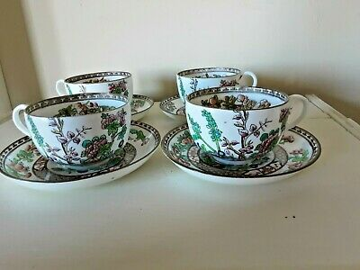 Antique Coalport Indian Tree Large Bone China Cups And Saucers • 16£