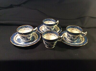 3 Booths Real Old Willow Gilded A8025 Demi Tasse Coffee Cups & Saucers - Nice! • 8£