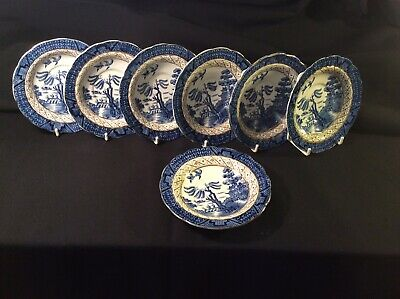 "7 Booths Real Old Willow 6.25"" Gilded Saucers Only For Breakfast Cups 9072 -Good • 12£"