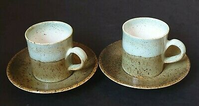 2x COFFEE CUPS / SAUCERS : IDEN POTTERY RYE SUSSEX : STUDIO POTTERY : EXCELLENT • 6.95£