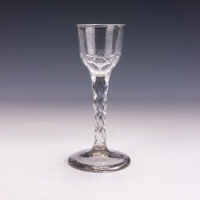 Antique Georgian Glass - Tall Wine Drinking Glass - With Faceted Stem • 0.99£