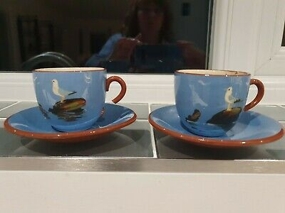 2 Darmouth Pottery Seagull Cup And Saucers • 3.70£