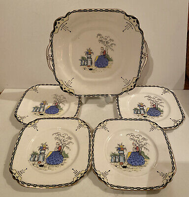Vintage Wellington China Bread Plate With 4 Side Plates • 38£