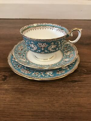 Crown Staffordshire Ellesmere Turquoise Trio Cup /saucer / Side Plate • 19.99£