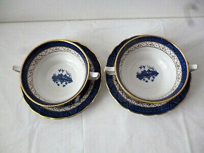 Booths Real Old Willow Soup Coupes Bowls A8025  2 Off Sets With Gold Rims • 24£