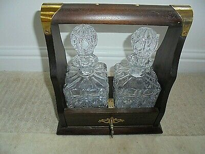 Vintage Reproduction Tantalus With 2 Lead Crystal Decanters,  Working Lock And K • 65£