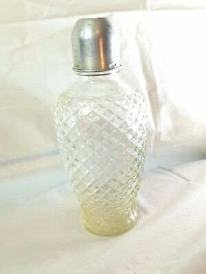 ANTIQUE  LEAD CUT CRYSTAL ??GLASS COCKTAIL SHAKER WITH LID 9 Inches X4.5 Inches • 10£