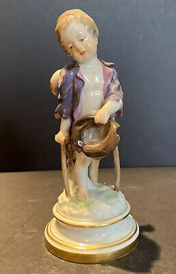"""Meissen 19c Porcelain Figurine Of A Boy With Crutches 4"""" X 9"""" • 578.52£"""