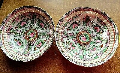 2 Antique Japanese Bowls With Threaded Silk Vgc Hand Painted • 15£