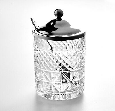 Jam Pot 1930 Cut Glass Style With Chrome Lid And Spoon • 16£