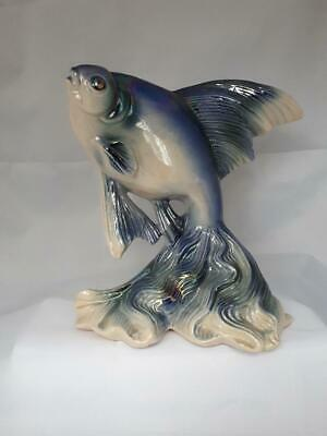 Mid Century Dutch JEMA Lustre Pottery FISH Blue Impressed 182 • 24£