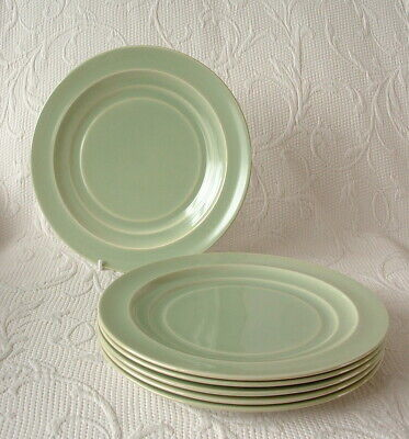 Branksome China – Set Of 6 Graceline 21cm Salad / Side Plates – Soft Green • 19.99£